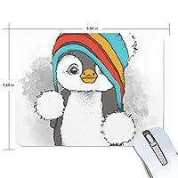 マウスパッド ペンギン かわいい 帽子 光学式マウス対応 防水 滑り止め生地 ゴム製裏面 軽量 耐久性 携帯便利 ノートパソコン用 オフィス用 快適 プレゼント
