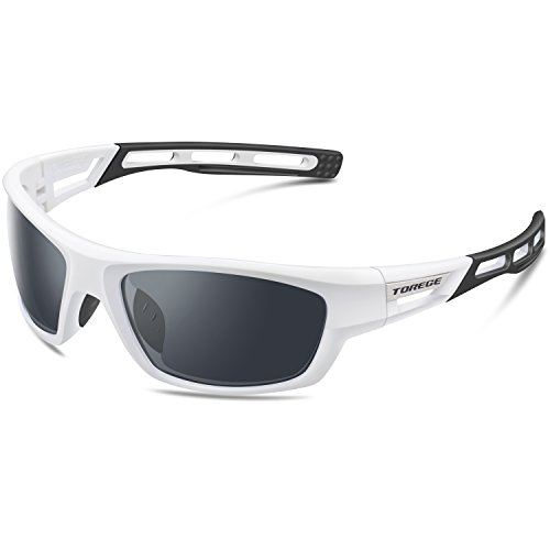 Torege 偏光レンズ スポーツサングラス 超軽量 TR90 UV400 紫外線カット サングラスTRG007 (ホワイト&ブラック)