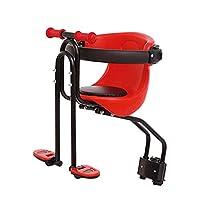 自転車チャイルドシート - キッズ自転車の安全キャリアラッククッションサドルシート(アームレストとフットペダル付き),Red