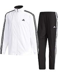アディダス(adidas) M ESSENTIALS 3st ウインドブレーカージャケット&パンツ(裏起毛) 上下セット(ホワイト/ブラックホワイト) FKJ78-DN1431-FKJ80-DN1355