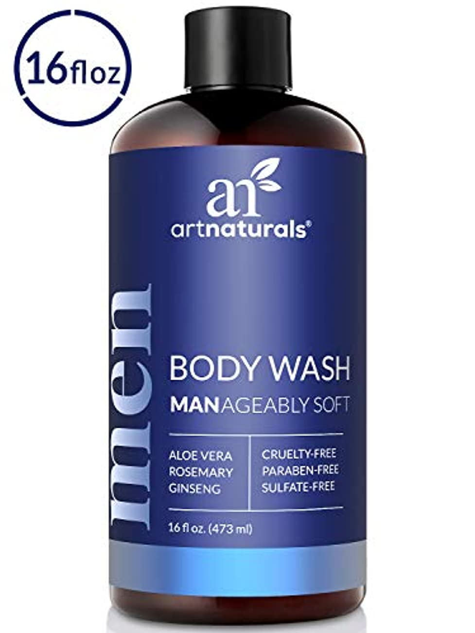 ArtNaturals Men's Natural Body Wash – (16 Fl Oz / 473ml) – Shower Gel that Cleanses, Refreshes and Deodorizes...