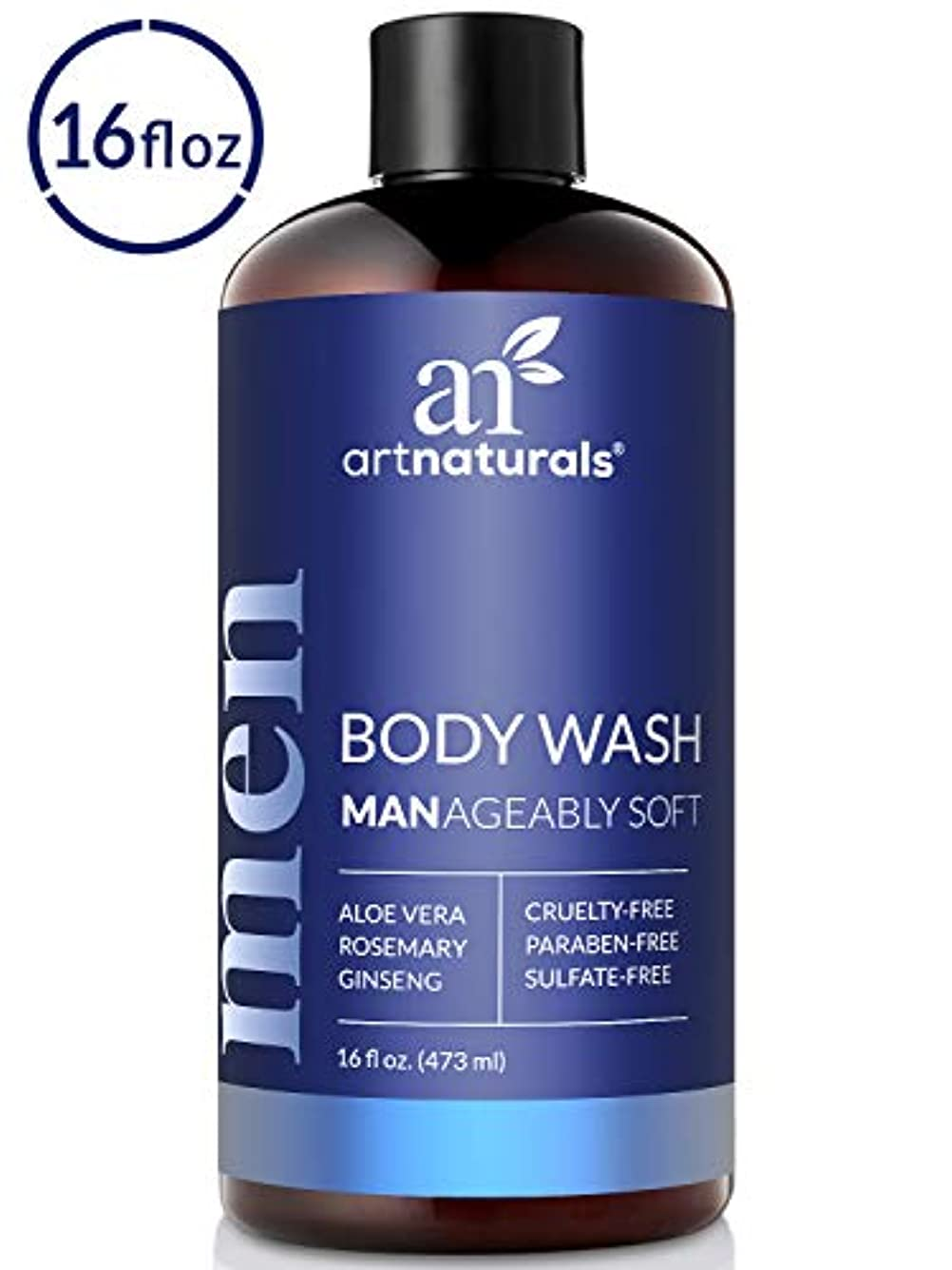 いたずらな蒸気二十ArtNaturals Men's Natural Body Wash – (16 Fl Oz / 473ml) – Shower Gel that Cleanses, Refreshes and Deodorizes...