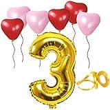 誕生日パーティー ハート型風船  飾り付け ゴールド 数字(3) 天然ゴム 風船セット(h1-f03)