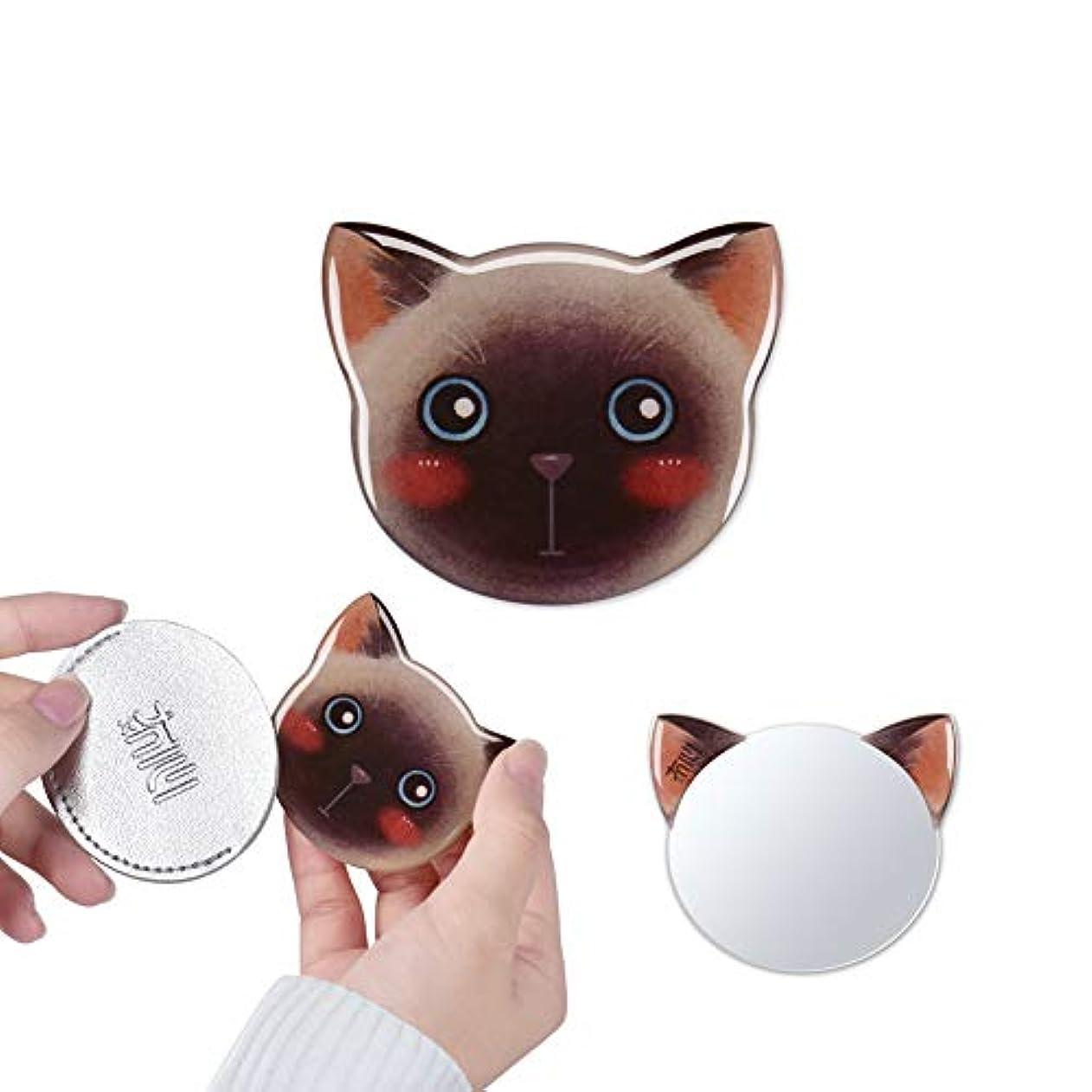 溶融高く関連する携帯ミラー 手鏡 コンパクト 猫柄 8パタン 収納袋付き 割れない 鏡 おしゃれ コンパクトミラー ハンドミラー かわいい (アルテミス)