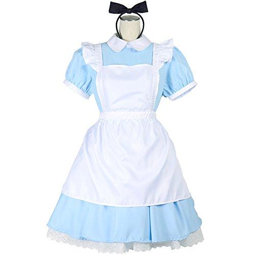 不思議の国のアリス メルヘンワンピースセット メイド風 コスチューム 空色少女 JOYBANK レディース 衣装 大きいサイズ 5Lサイズ