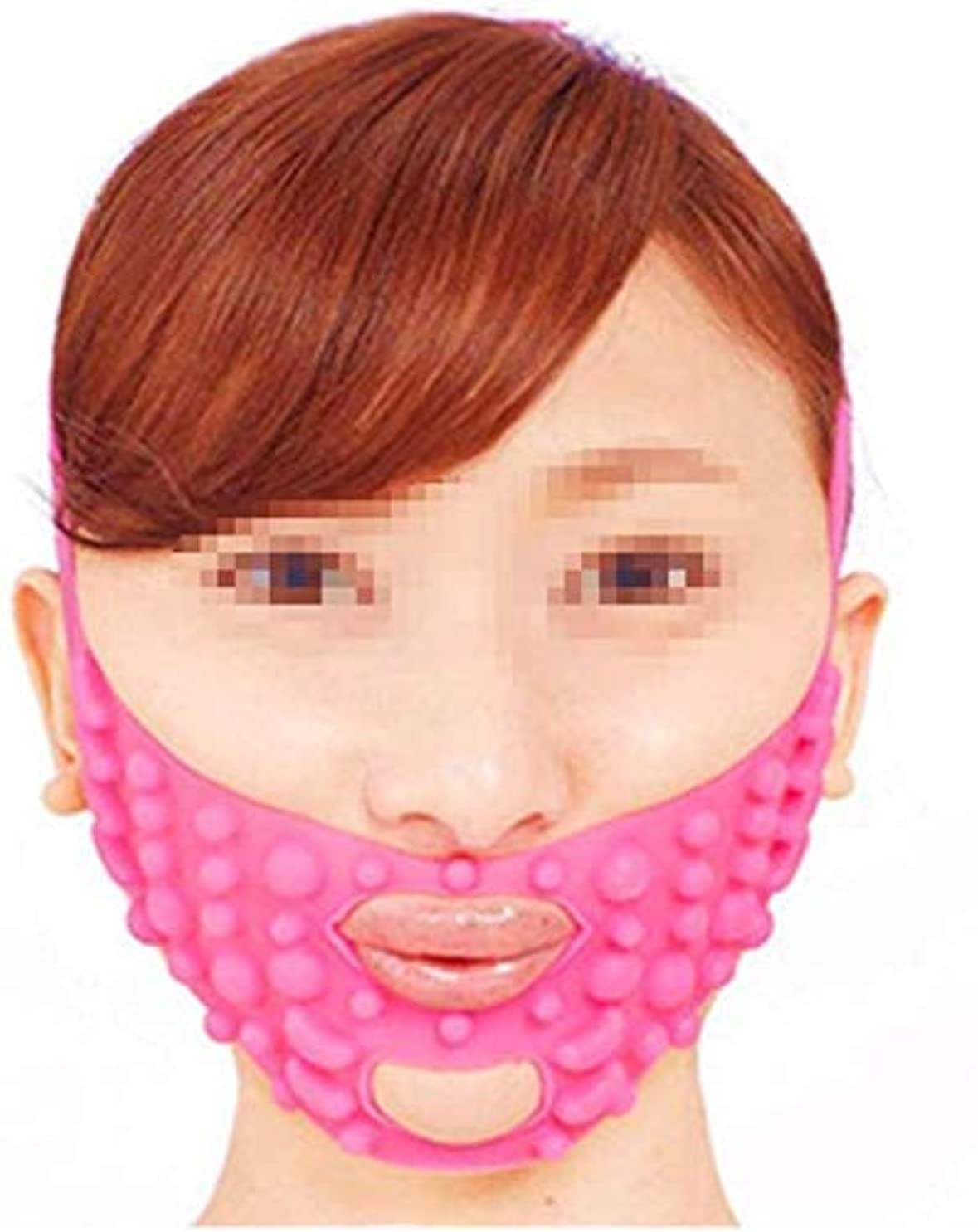 前提条件抵抗する着る美しさと実用的なシリコンマッサージフェイスマスク、タイトな形の小さなVフェイスリフトを布告パターンのフェイスリフト包帯ピンク