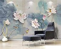 Wuyyii カスタム壁紙壁画インキペン手描きの花と鳥の背景のリビングルーム用壁画壁紙カスタム壁紙壁画インキペン手描きの花と鳥の背景のリビングルーム用壁画壁紙-200X140Cm