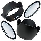 Canon キヤノン EOS Kiss X7 ダブルズームキット用 互換 レンズフード フィルター セット EW-63C ET-60 花型 58㎜ レンズフィルター [ ..