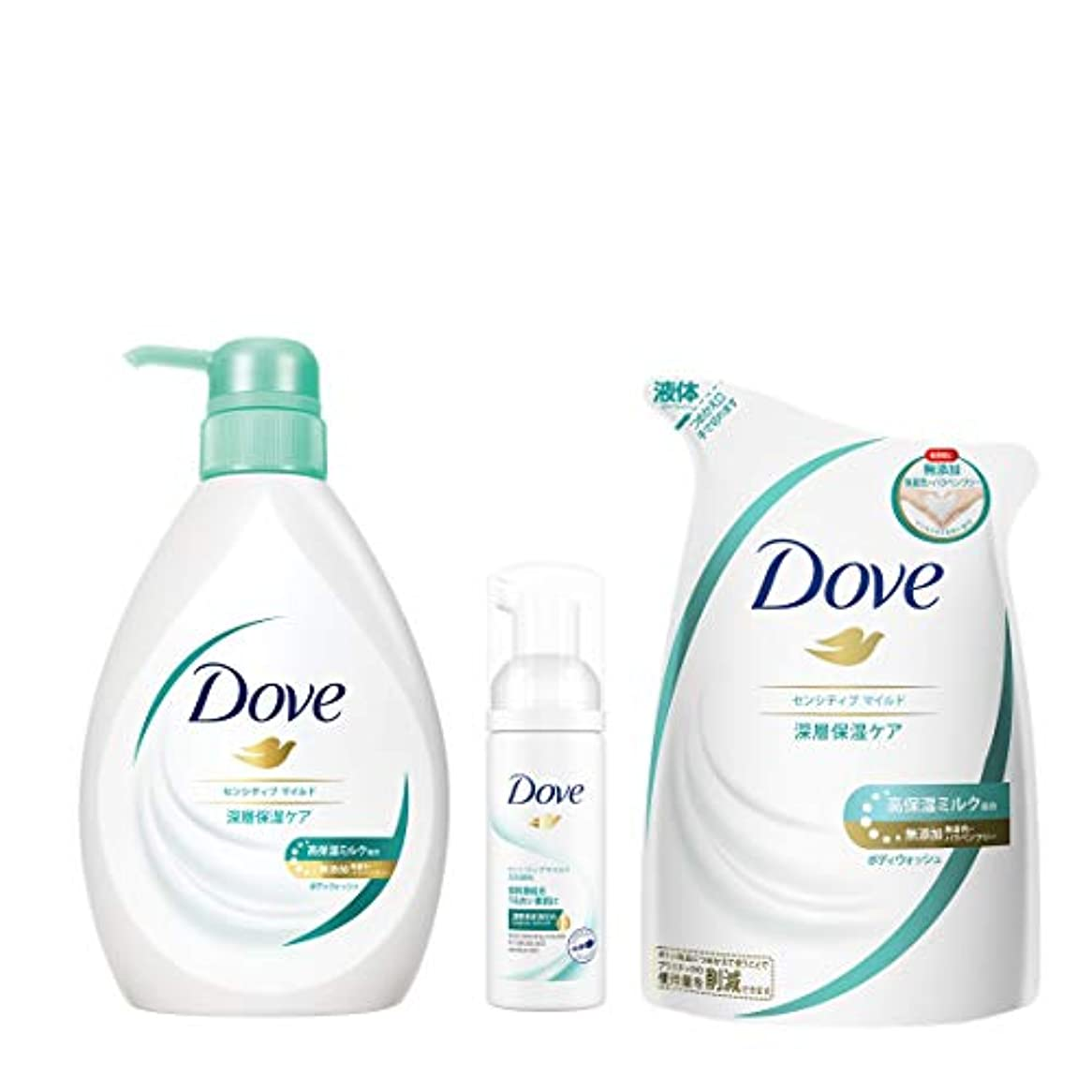 リマサーマルぬれた【Amazon.co.jp限定】 Dove(ダヴ) ダヴBWセンシティブマイルド ポンプ+替え+おまけ ボディソープ 500g+360+おまけ付