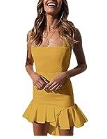 KXP 女性不規則セクシーミニノースリーブカシスラッフルドレス Yellow XXS