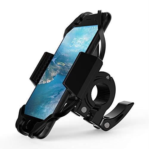 Cogshou自転車用 スマホホルダー バイク用スタンド 二重保護 脱落防止 多機種対応 携帯ホルダー マウントキット クリップ式ホルダー GPSナビ 360度回転 保護シリコンバンド付き (ブラック)