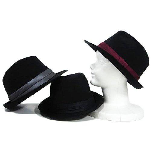 (エイト) 8(eight)シンプルなネクタイ生地中折れハット 黒帽子 ワインレッド