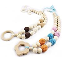 Eco Beech Wood Beads Different Size Block Wood Teething Pendant Bead Crochet Necklace For Baby and Mom Gift by LOVEBABY