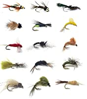 Fly Fishing Flies Assortment–人気のトラウト釣りと他淡水魚–30濡れFlies–15パターンニンフ、Emergers、ビーズヘッドPrince、Pheasant Tail、Mayflies、Pupa、and More