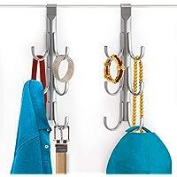 Lynk Over Door Accessory Hanger, Scarf, Belt, Hat, Jewellery Organiser, Vertical 6 Hook Rack, Platinum