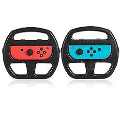 (ケテン)Keten Nintendo Switch Joy-Con ハンドル セット 2個セット レースゲーム マリオカート8 デラックス 任天堂 精確対応 敏感操作 ニンテンドースイッチ ジョイコン ハンドル