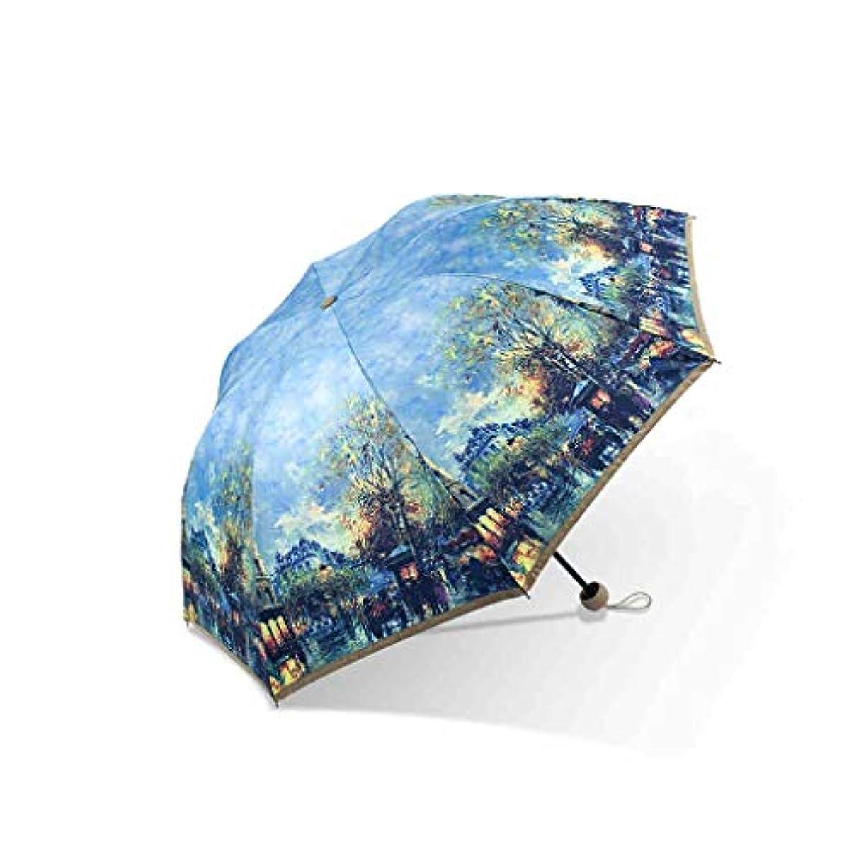 レンジ優れました厄介なPy 傘二層印刷ポータブル抗UV傘デュアルユース折りたたみ傘小さな新鮮な