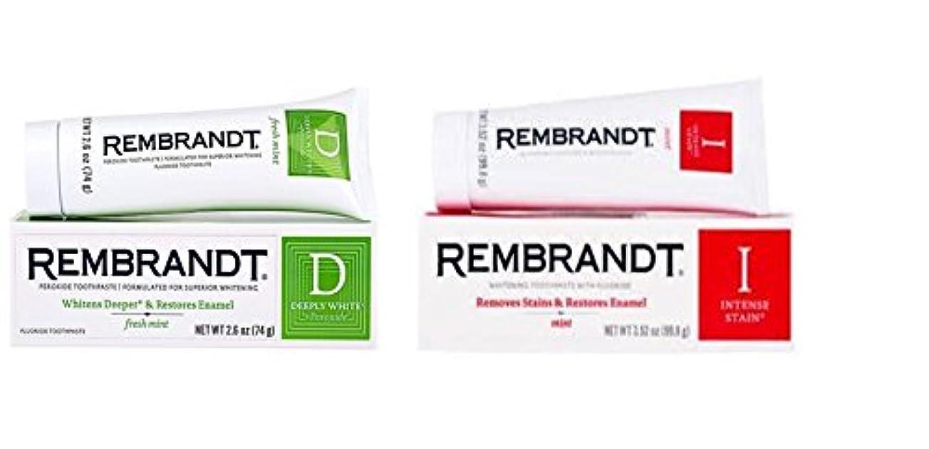 ガレージベリ苦しめるRembrandt Deeply White + Peroxide Whitening Mint, 74g 2.6 ounces (1個) & Rembrandt Intense Stain Toothpaste, Mint, 99g 3.5 oz (1個) - (2個セット)レンブラント ホワイトニング 歯磨き粉 [国内発送]