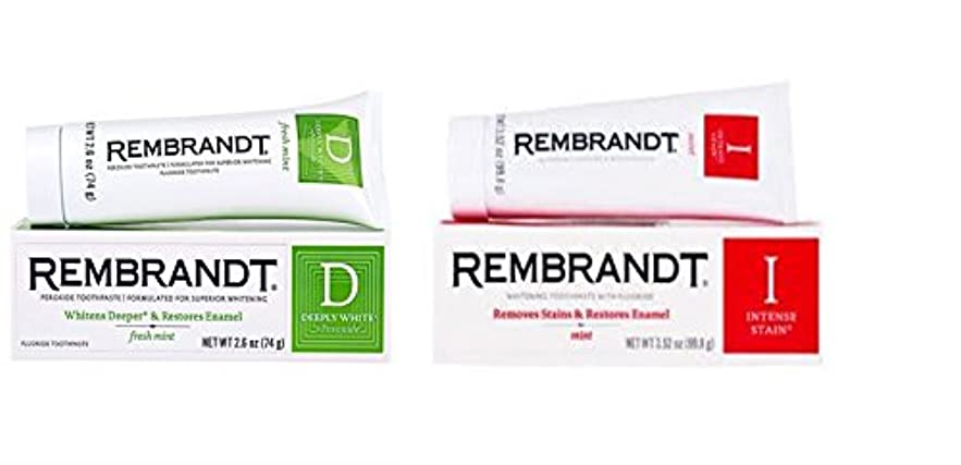Rembrandt Deeply White + Peroxide Whitening Mint, 74g 2.6 ounces (1個) & Rembrandt Intense Stain Toothpaste, Mint...