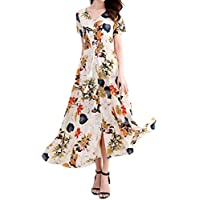 Bibowa Women Button-Down Slit Elegant Tie Swing Boho Floral Maxi Dress Party