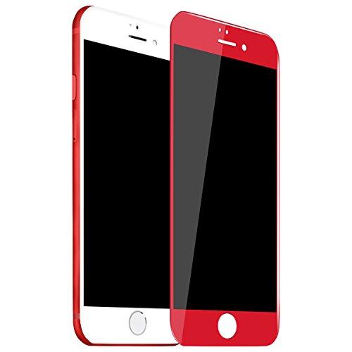 Anskp iPhone7/7 plus 対応 iPhone7フィルム3D強化ガラスフィルム 全面フルカバー アイホン7/7 plus用フィルム iPhone7plus 赤 高透過率 自動吸着 硬度9H 飛散防止 (iphone7 plus, レッド)