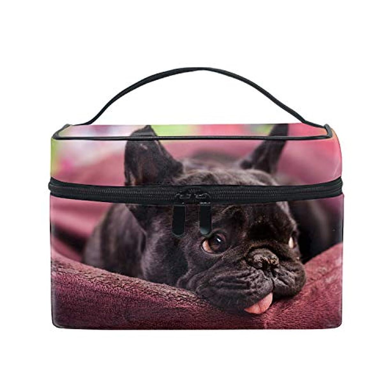 ロードされた睡眠運賃トラベルポーチ メイクポーチ 化粧ポーチ 充電器ポーチ 軽いフレンチブルドッグおかしい犬ブルドッグ