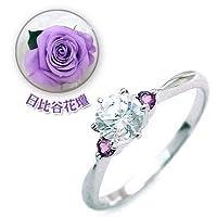 【SUEHIRO】 (婚約指輪) ダイヤモンド プラチナエンゲージリング(2月誕生石) アメジスト(日比谷花壇誕生色バラ付) #11