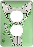 3drose LSP 6301_ 6Fancy Felineグレー猫デザインライトグリーン2プラグコンセントカバー