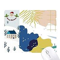 青白の抽象的な植物の芸術 サンタクロース家屋ゴムのマウスパッド