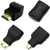 全部に対応 HDMI 接続 変換 4つセット mini HDMI & micro HDMI 90° L型 延長 コネクター