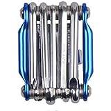 通販のトココ 六角レンチ メンテナンス バイク DIY 修理 ブルー 自転車 マルチツール 多機能 工具セット 11機能 zk215-bl