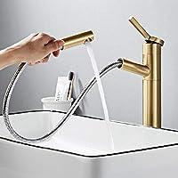キッチン/バスルームの蛇口 現代の商業単穴シングルハンドル浴室の蛇口プルダウン浴室の蛇口 ステンレスシンクの蛇口 (Color : Gold, Size : 32cm)