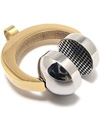 [テメゴ ジュエリー]TEMEGO Jewelry メンズポリッシュステンレススチールペンダントファッションヘッドフォンネックレス、ゴールデンシルバー[インポート]