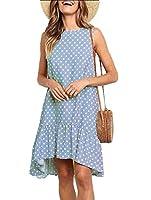 Keaac 女性の夏のポルカドットはポケットとノースリーブルーズミディドレス Light Blue M