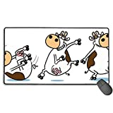 ErmiCo マウスパッド 学生用 パソコンマウスパッド 家庭用 コンピューターマウスパッド ブレイクダンス牛 滑り止めゴム底 超大判 大型 750×400×3mm