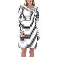 Smallshow Women's Nursing Dress Long Sleeve Stripes Breastfeeding Dresse