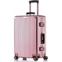 IRVING Scratchproof Aluminum Frame Trolley Case Universal Wheel Suitcase Male and Female Students Password Lock Suitcase (Color : Pink, Size : 26 inch)