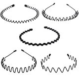 Xcellent Global 5pcs Unisex Hair Hoop Spring Wave Hairband for Sports Headwear Accessories BT049