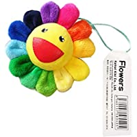 "Sun Flower 3"" Plush Strap Badge Keychain Rainbow Color Brooch Fashion Gift of Hanging Ornament"