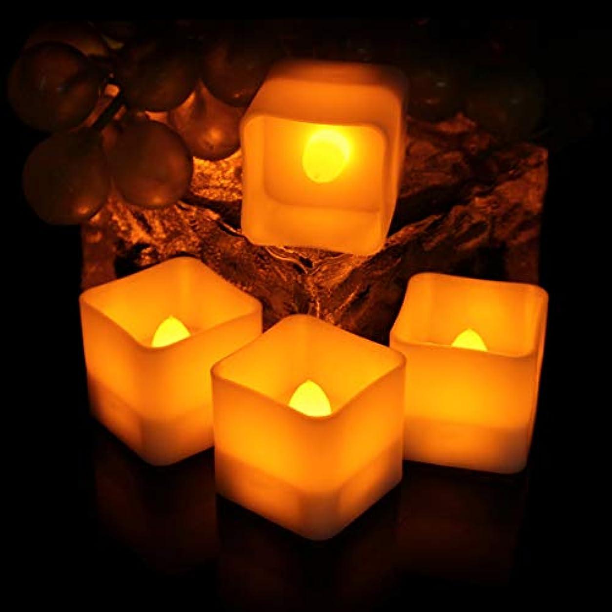 先史時代の者地下室LEDフレームレスキャンドル 正方形 電池式キャンドル イエロー光電気 ろうそくスクエア無香料 タイミング機能付き ハロウィンクリスマス 結婚式 誕生日 室内 室外飾り インテリアライト 雰囲気装飾ランプ 12セットS