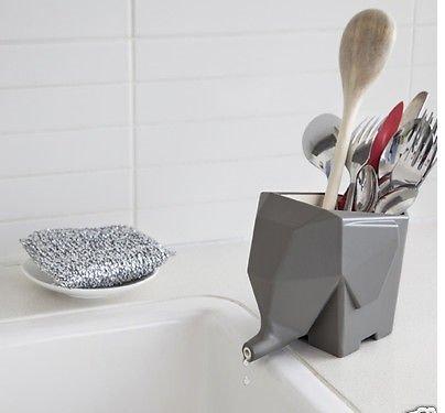 Gray Jumbo Cutlery Drainer Elephant Kitchen Bathroom Dish Holder Rack By Peleg Design by Dish Racks