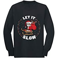 Let It Slow Funny Sloth Santa Ugly Christmas Youth Kids Long Sleeve T-Shirt