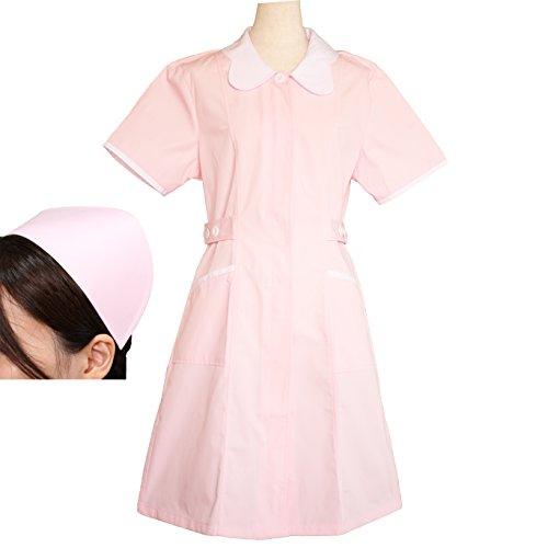 (ジャパナイス)JapaNice 看護師 用 ナース服 ワンピース+帽子+クリップ セット レディース ピンク BC764-1