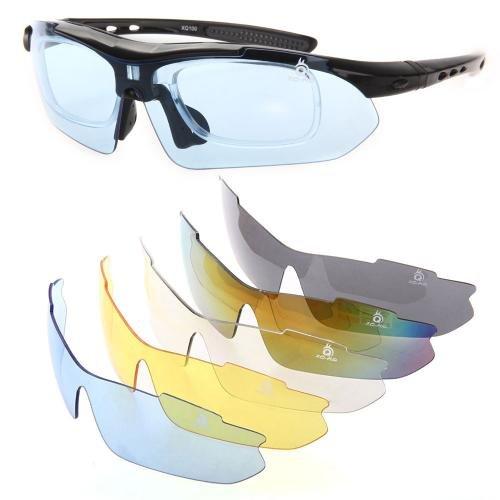 スポーツ サングラス UVカット 偏光レンズ フルセット 調光 交換レンズ5枚 男女兼用 ブラック XQ-100