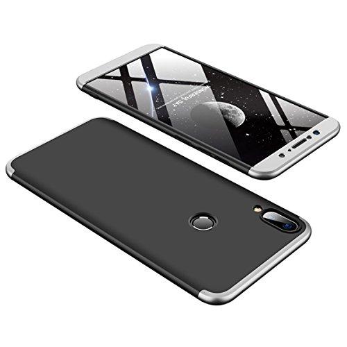 """Zenfone Max Pro (M1) ZB601KL ケース, GUNAHAO 3 in 1 360°全面保護 ハードPC 軽量 薄い 指紋防止 耐衝撃 滑り止め おしゃれ 高級感 スマートフォン 保護ケース ために Asus Zenfone Max Pro (M1) ZB601KL 5.99"""" (ブラック+シルバー)"""