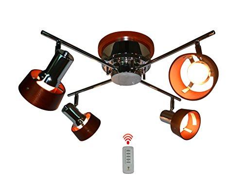 RoomClip商品情報 - Takumi Light 『Sizixi』 リモコン対応 4灯クロスシーリングライト ウッドシェード 壁電源で簡単切り替え E26口径タイプ (クローム×ダークブラウン)