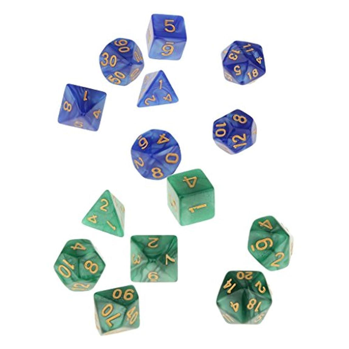 手を差し伸べる変換するビルダーサイコロ 16mm 骰子 多面体ダイス DND MTG RPGゲーム用 ボードゲーム用 全2選択 - 緑+青