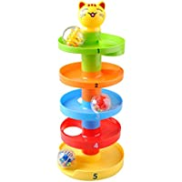 NUOLUX Ball Ramp Toy Baby Drop and Roll Swirl Ball Ramp Toy for Infant