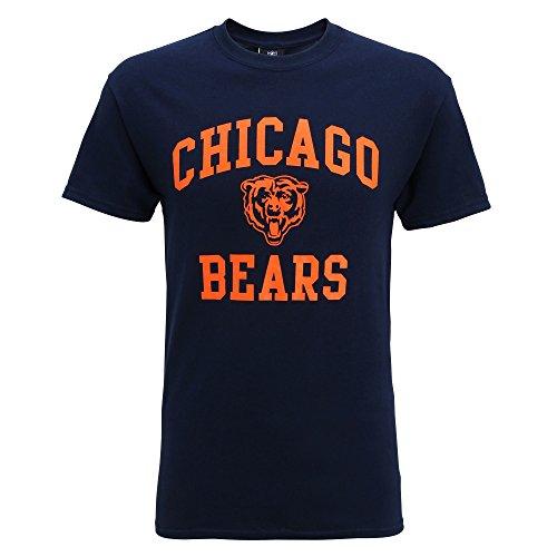 NFL シカゴ・ベアーズ Chicago Bears オフィシャル メンズ 半袖Tシャツ ロゴT プリント アメフトTシャツ 夏 男性用 (L) (ネイビー)