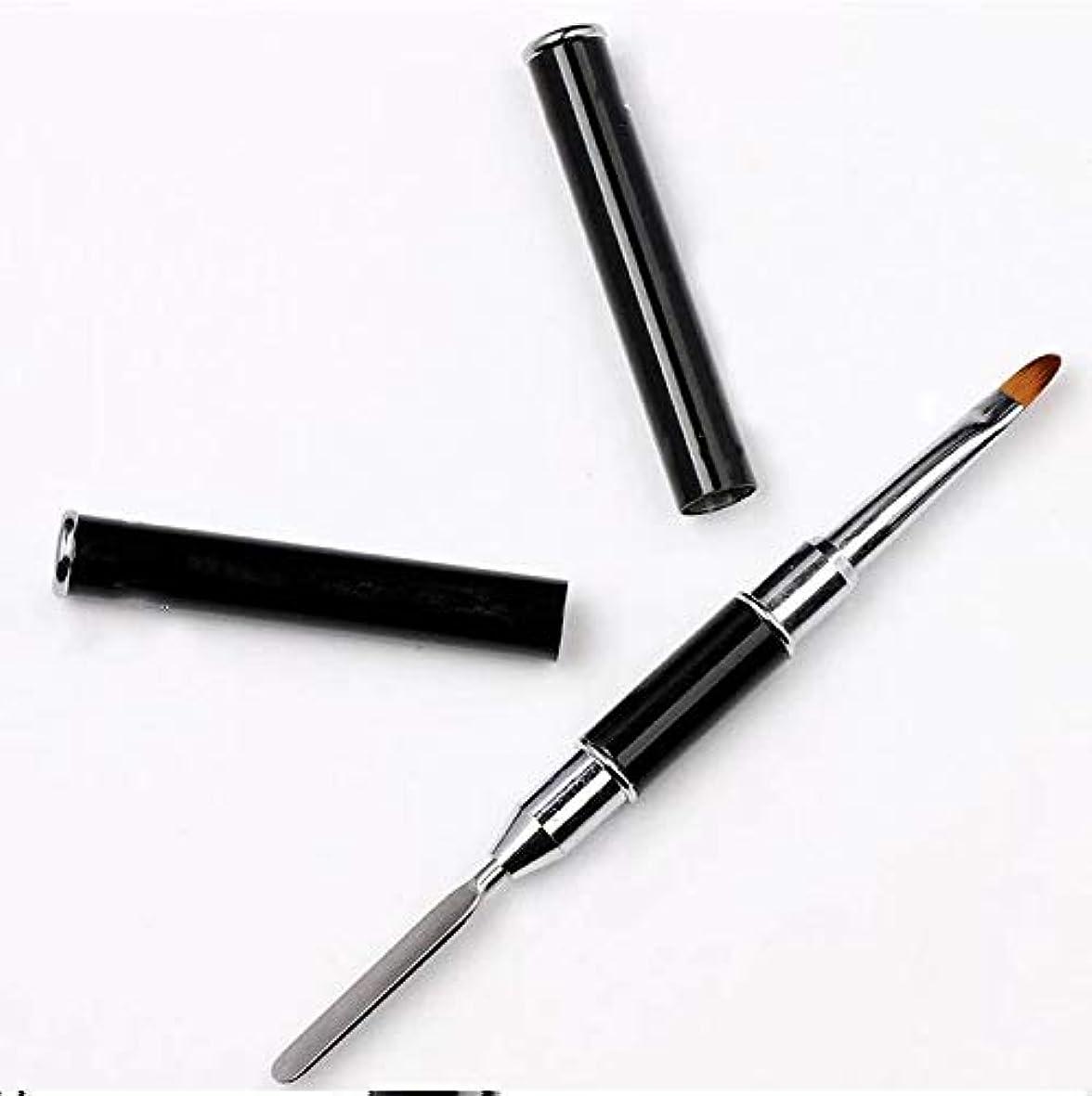 酸化物なぜ悲しいことにネイル用 2Way ダブルヘッドブラシ ジェルネイル ポリジェル ネイルアート スパチュラ付き クリアケース入りネイル筆